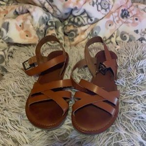 Brown strapped sandals